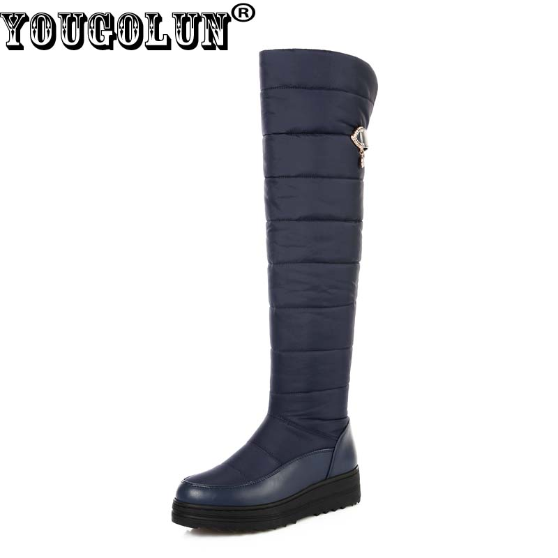 YOUGOLUN Women Thigh High Snow Boots Down Warm 2017 Winter Waterproof platform Wedges Heel 4.5 cm Heels Black Blue Shoes #Y-218<br>