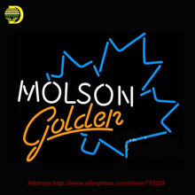 Neon Sign Molson Golden Blue Maple Leaf Glass Tube Handcrafted Recreation Room Iconic neon custom LOGO Beer Signs Lighted 24x22(China)