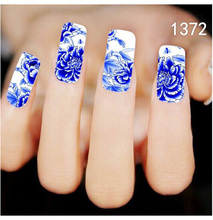 Bittb 2pcs China Style Blue Flower Nail Art Sticker Water Transfer Nail Decal Tips Fingernail Nail Tool Beauty Diy Nail Stickers