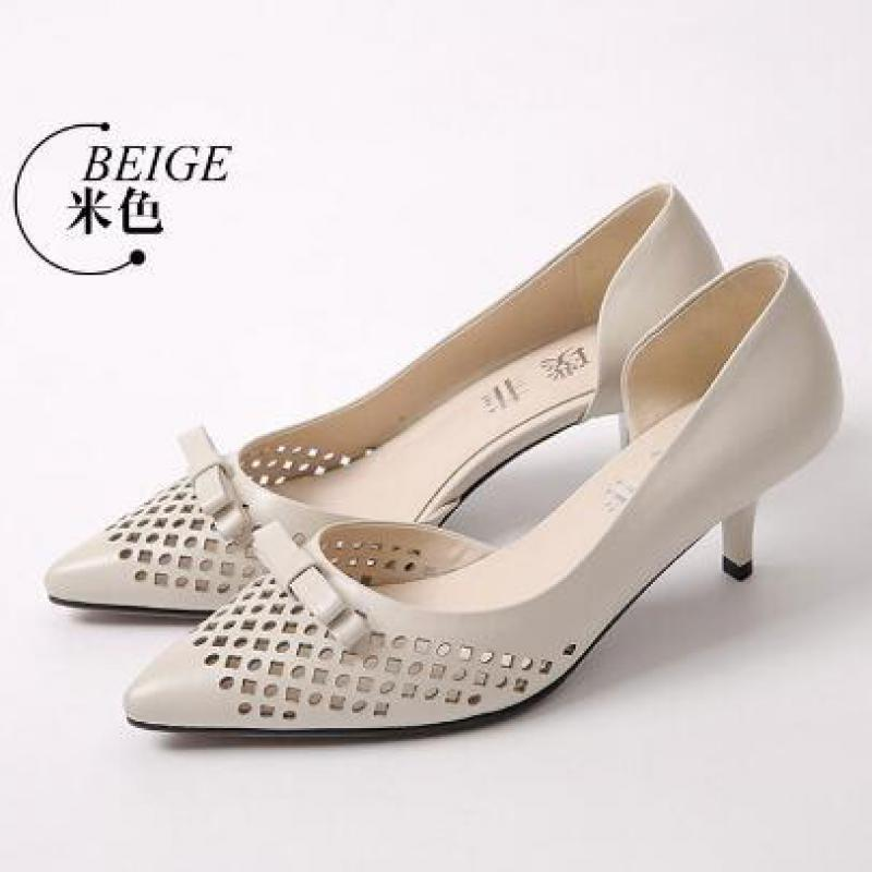 Women Office Shoes Cowhide Pu Shoes Women Cheap Pointed Toe Women Fashion Shoes Sweet Temperament Embossed Leather Side Hollow<br><br>Aliexpress
