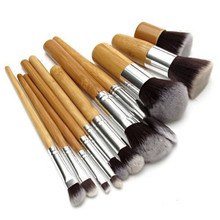 Wholesale Excellent 11 Pcs Makeup Brushes Bamboo Wood Fiber Brush Set Eyebrow Eyeliner Powder Brushes Make Up Brushes 30sets/lot