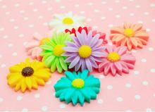50pcs/lot 26mmmm flatback resin sun flower daisy Scrapbooking Craft Cabochon For phone deco diy jewelry making