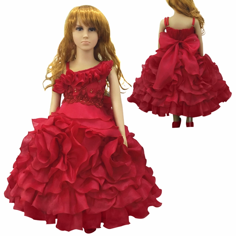 Hot Sales Brand HG Princess 3T-10T Child Party Dresses 2017 New Arrival Kids Evening Gowns Lace Appliques Red Girl Dress Organza<br>