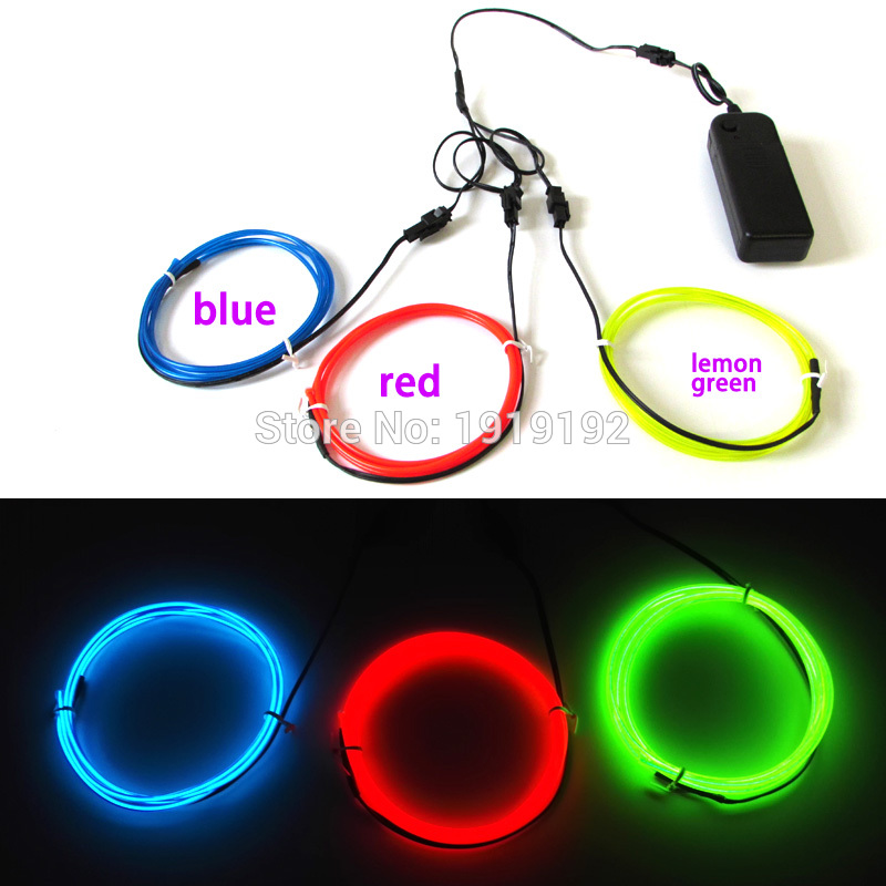 Hot sales 2.3mm 1M x 3pcs multicolor flexible EL wire Electroluminescent Wire Neon Glowing Strobing for DIY Car party decoration(China (Mainland))