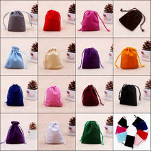 Wholesale 10x12cm Drawstring Velvet Bags Pouches Jewelry Bags Christmas Valentines Gifts Bags 100pcs/lot Free Shipping(China)
