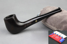 Straight Handmade Nature Ebony Wood Black Tobacco Smoking Pipe Round Wooden Pipe & Pouch & Stand & 10X 9mm Pipe Filters DB496