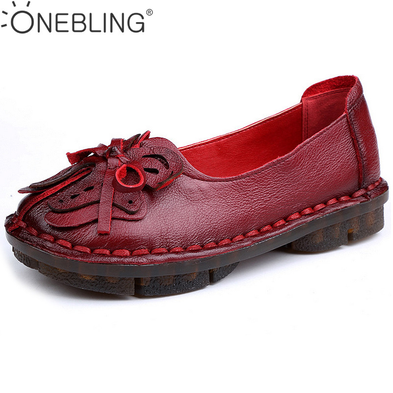 Women Sewing Shoes 2017 Spring Autumn Fashion Genuine Leather Casual Shoes Butterfly Decoration Soft Slip-on Flat Shoes Loafers<br>