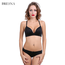 BRESNA Wire Free One-piece Seamless Bra With Lace Butterfly Backless Bra Panty Set Underwear Women Sexy Lingerie  White Black
