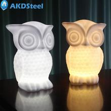 AKDSteel 1W LED Night Light Owl Shape White/Warm Light PVC Table Lamp Indoor Decorative Nightlight for Kids Room Party Decor R11(China)