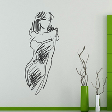 Sexy Abstract Line Art Beauty  Girl Illustrations Sketch Wedding Decor Wall Decal Wallpaper Wall Sticker Bedrooms Decor Stickers