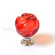 5pcs Red Rose Crystal Cabinet Knob Handle Cupboard Closet  Drawer Knob Pull Handle Kitchen Pull Wholesale