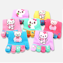 Hello Kitty Kids Socks Five Fingers calcetines meias Girls Boys Socks chaussette Kids Toe Socks Children 5 Toes Socks 3 Pairs(China)