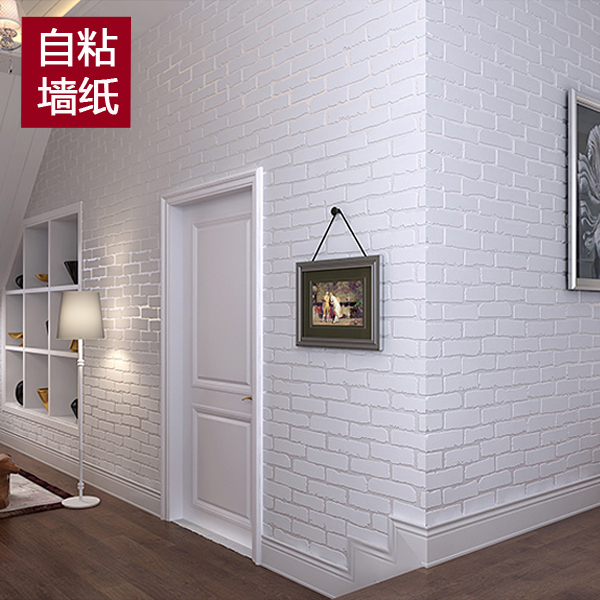 New Mediterranean white wallpaper self-adhesive brick pattern non-woven dormitory stickers 3D brick wall stickers TV wall paper<br>