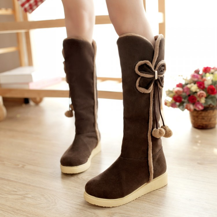 2017 fashion Winter Shoes Knee Boots Stuffed Sweet Bow High Boots Shoes warm Woman Boots Winter Women Knee High Boots<br><br>Aliexpress
