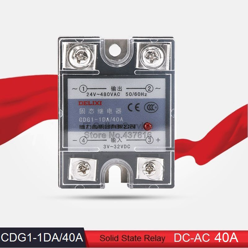 High Quality DC-AC 40A Solid State Relay 40A Single Phase SSR  Input 3-32VDC Output 24-480VAC (CDG1-1DA/40A)<br><br>Aliexpress