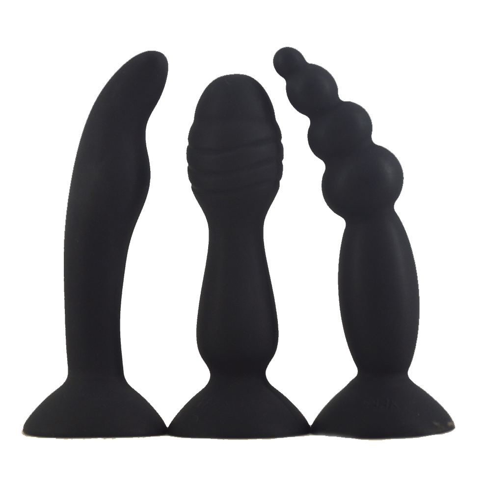 FAAK 3pcs/lot Silicone butt plug strong suction cup beads anal sex toys clit G-spot stimulate anal plug erotic products sex shop