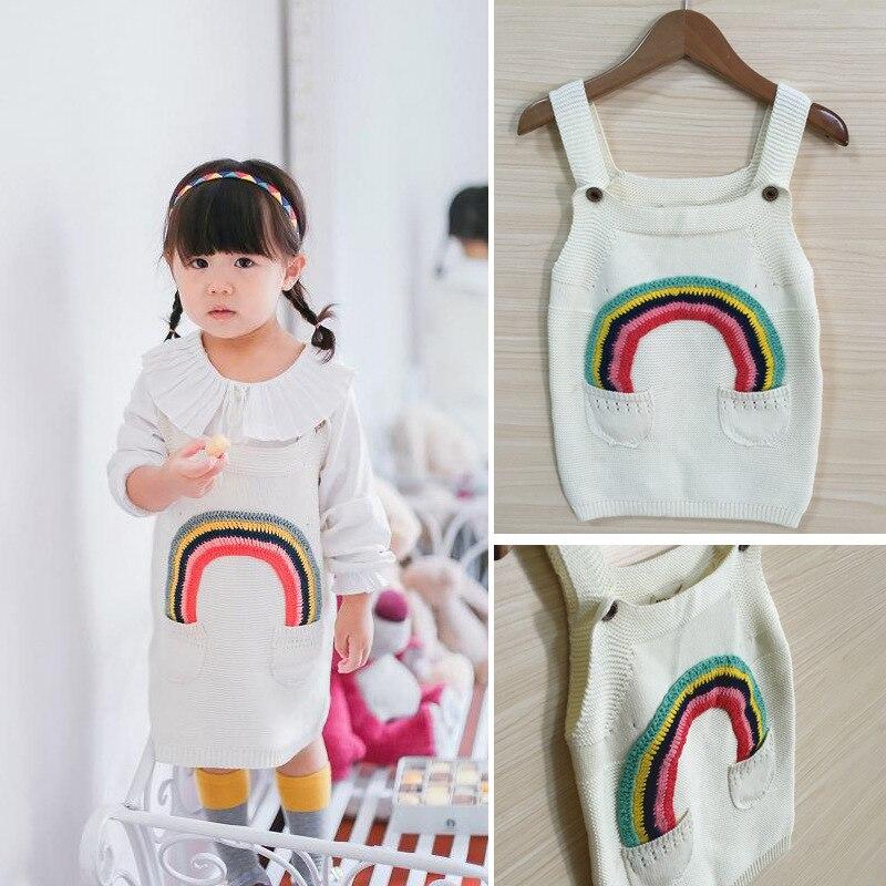 2017 Spring Brand Girls Rainbow Sweater Dress Children Knitted White Rainbow Dress Brand Girls Clothing<br><br>Aliexpress