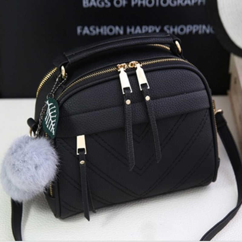 3befb22dc PU bolso de cuero para las mujeres chica nueva bolsas de mensajero con  justo bola borla