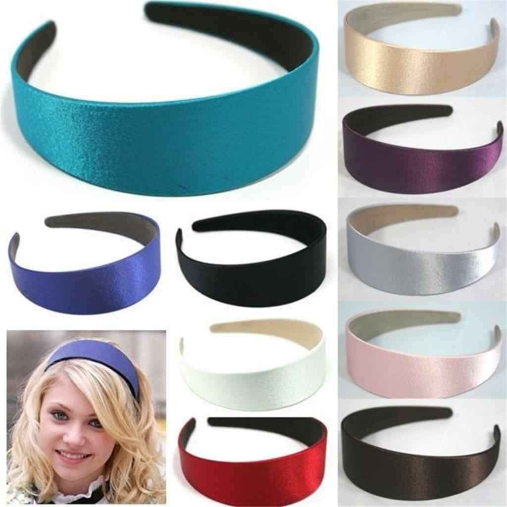 1x Lady Wide 3cm Solid Color Lace Plain Satin Fabric Covered Hoop Head Band US