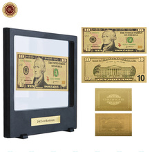 WR Festival Souvenir Gifts Usd 10 Normal Money US 24k 9999 Gold Plated Banknote Currency Bill Note with Black Box for Home Decor(China)