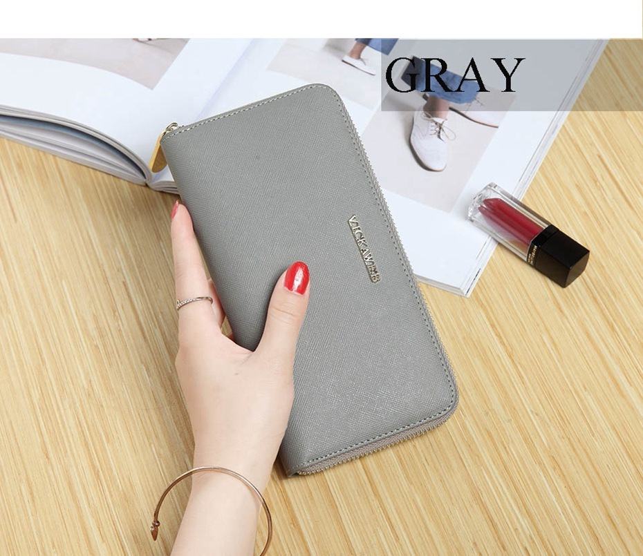 VICKAWEB Big Female Wallet Solid Women Wallets Genuine Leather Zipper Long Purses New Standard Wallets Fashion Ladies Purse 06-VICKAWEB06--015