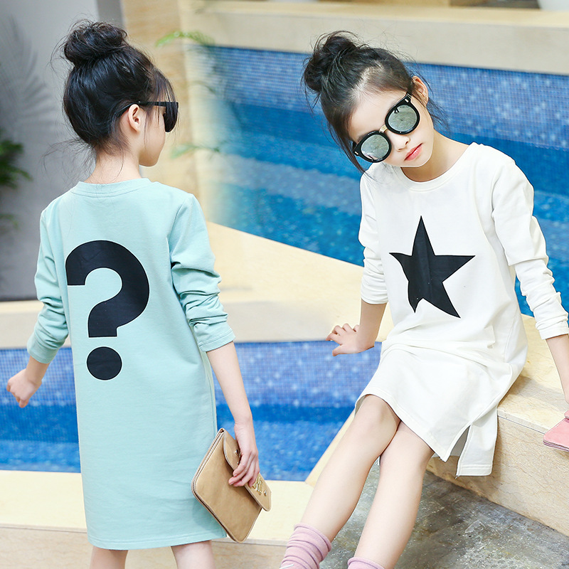 2017 spring little teenagers dress long sleeved tees tops stars printed t shirts dresses for girls autumn children clothing<br><br>Aliexpress