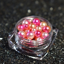 1 Box Rose Red Sparkly Mermaid Pearl Round Gradient Nail Art Decorations Charms Beads D8099(China)