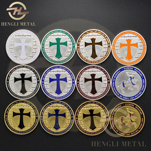 12 pcs /lot 1 Troy Oz. Silver / Gold Clad Masonic Knights Templar Coin Free Mason Illuminati Cross Sheild Token Souvenir Coin(China)