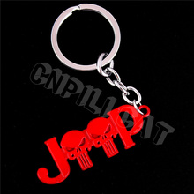 3D Red Punisher Logo Car Key Ring Key Chain Gift for JEEP Wrangler Compass Patriot Renegade Grand Cherokee Etc.