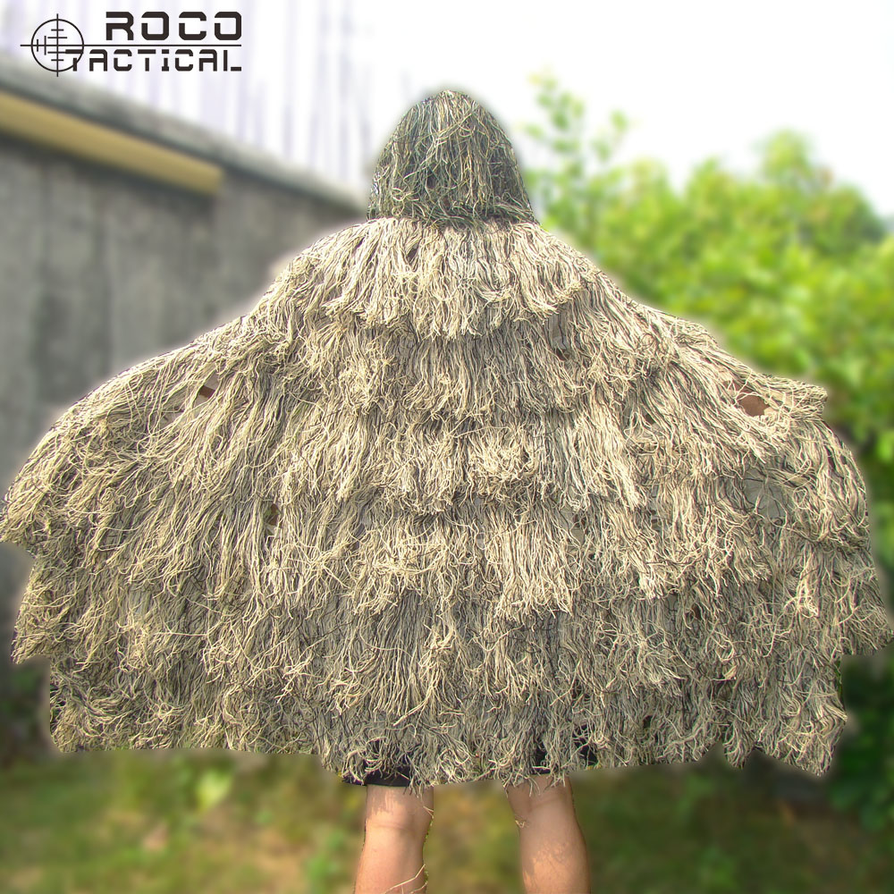 ROCOTACTICAL Lightweight Ghillie Poncho Tactical Sniper Ghillie Top for Airsoft Paintball Military Ghillie Poncho Suit Woodland<br>