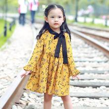 Princess Dress 2017 New Girls Fall Dresses Fashion High-grade Girls Cotton Bow Dresses Elegant Cute Little Girl Clothing