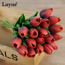 Luyue Official Store 21 pcs/lot Artificial tulips Real Touch pu Tulips bridal bouquet flowers Home Wedding Decor