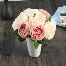 2pcs/lot 24cm champagne pink Roes artificial fake silk flower wedding party home restaurant decoration bride bouquet