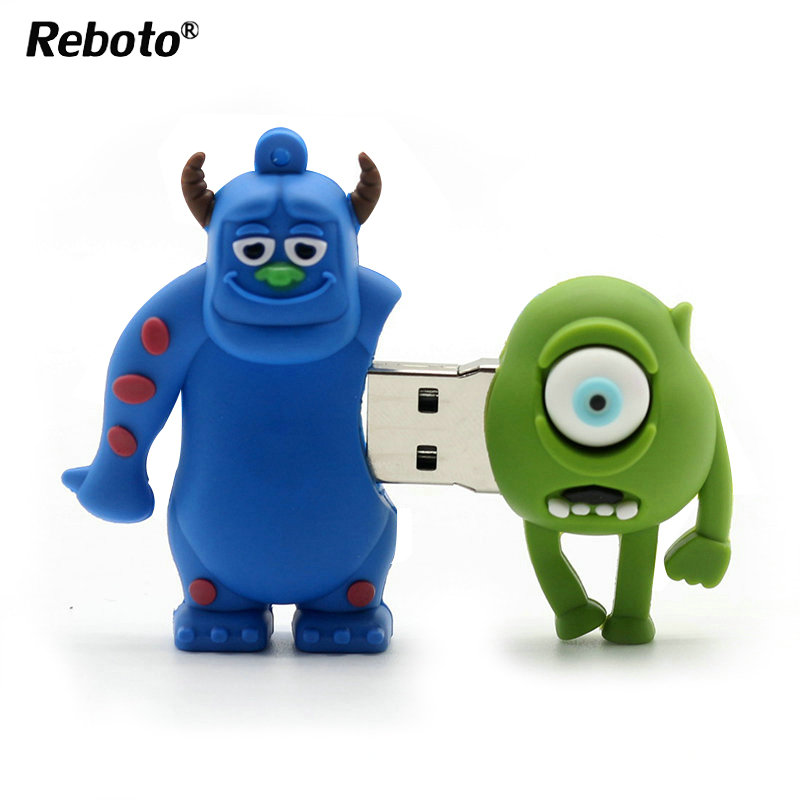 Usb2.0 Flsh Drive cartoon one-eyed Mike smile cow monster university pen drive 4gb 8gb16gb 32gb 64gb memory stick pendrive mini(China)