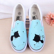 Women Tide Vulcanized Casual Board Shoes Discount Retail Gg Fashion Loafer 2017 Summer Hand Painted Canvas Shoes Zapatones Mujer