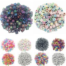 LNRRABC 100pcs DIY Square Round Acrylic alphabet Spacer Loose Beads For Necklace Bracelet Letter Beads Charms bisuteria Jewelry(China)