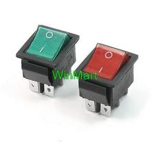 4 PCS On-Off DPDT 6 Pin Terminals Green+Red Pilot Lamp Rocker Switch AC250V 15A(China)