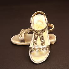J Ghee Girls Shoes PU Leather With Rhinestone Shiny Bright Princess Kids Sandals Party Children Shoes For Medium Large Girls