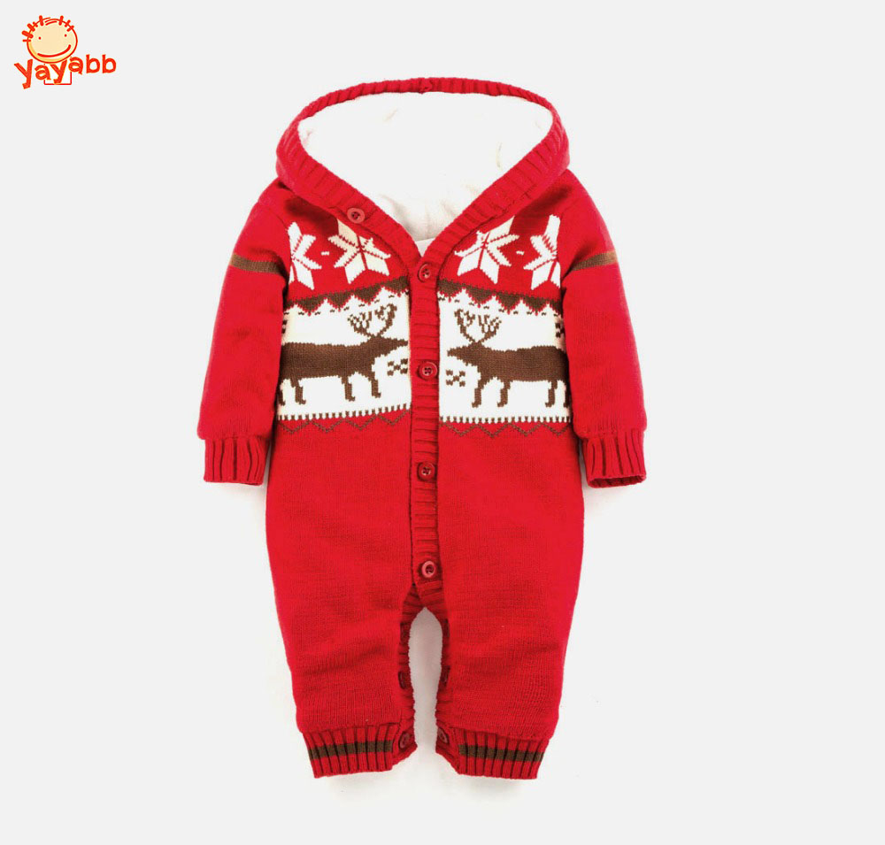 0-18 Months Baby Autumn Winter Romper Thickening Warm Baby Boys Girls Jumpuists Coverall Cartoon Deer Christmas Gift For Newborn<br>