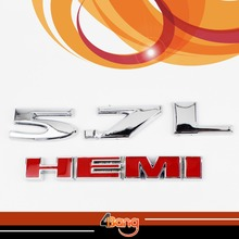 2x 3D Silver 5.7L HEMI Red Car Tailgate Sticker Decal Engine Emblem For Charger Mopar Dodge Ram Pickup Challenger
