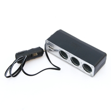 High Quality 3 Way Car Cigarette Lighter Socket Splitter Charger Power Adapter DC+USB Port Plug 12V-24V Free Shipping