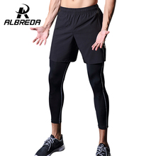 ALBREDA Running 2 pieces of shorts and Long pants Mens running tight Fitness Men Gym Leggings Quickly Drying compression Pants