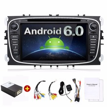 Quad Core 2din Android 6.0 Car DVD for Ford Mondeo C-max S max with English Wifi 3G GPS Bluetooth Radio touch screen wifi 3G(China)