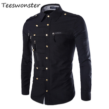 Men Casual Dress Shirt Covered Button Factory Connection Chemise Homme Brand Compression Clothing Casual Camisas Masculinas(China)