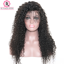 250% Density Lace Front Wig Brazilian Curly Pre Plucked Virgin Human Hair Wigs For Black Women With Baby Hair Rosa Queen(China)