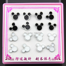 Lovely 8 pairs/lot Black White Animal Cute Mouse Stud Earrings Girl Women's Plastic Earrings YE191