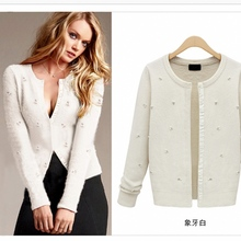 Beading Cardigan Knitwear Outwear Jacket Women's European Style Jewels Sweater Ladies New Fashion Cotton Knitted Cardigans