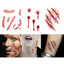 3pcs April Fool's day Zombie Scars Tattoos Fake Scab Bloody Makeup Halloween Decor Terror vampire Wound Blood Injury Sticker