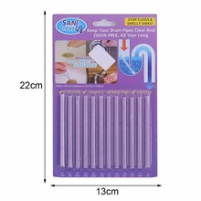 12pcs Purple Rod Drain Cleaner Kitchen Toilet Bathtub Sewage Decontamination To Deodorant Sewer Cleaning Tool 10.5cm