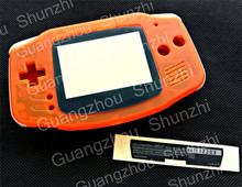For Gameboy Advance GBA Full Housing Shell Transparent Orange Color for GBA Console with Lens Stickers